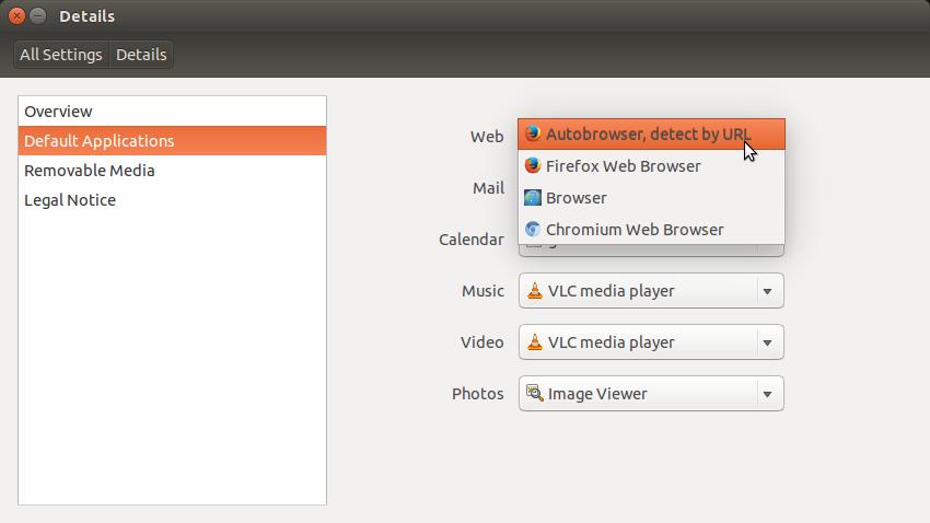 Screenshot of the default apps selection in Ubuntu